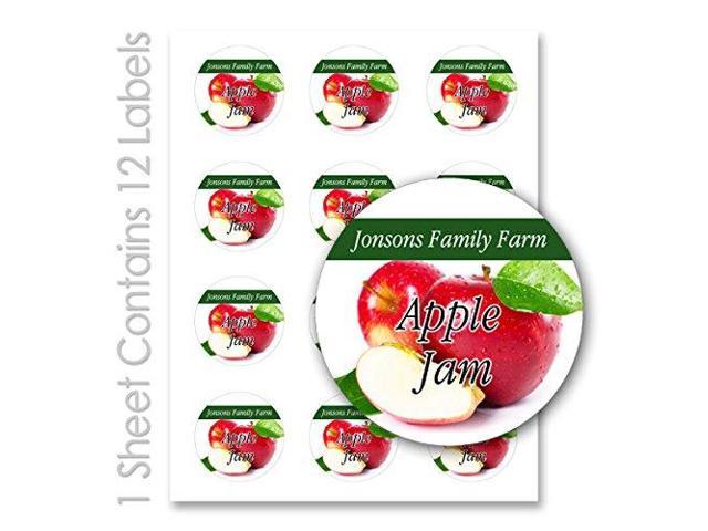 Jam clipart apple jelly. Fruit personalized name round