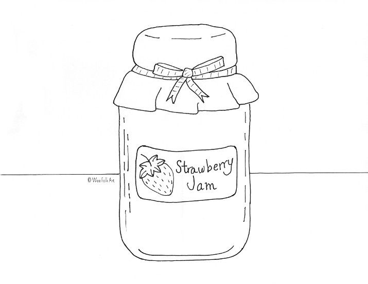 Strawberry jam coloring from. Jelly clipart colouring page
