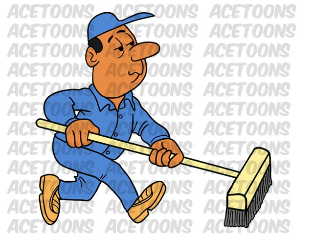 Janitor clipart. Custodian black male pushing