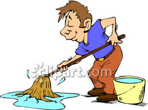 A mopping floor royalty. Janitor clipart