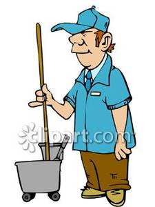 Cartoon with a mop. Janitor clipart