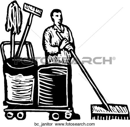 Black and white . Janitor clipart