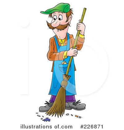 Illustration by alex bannykh. Janitor clipart