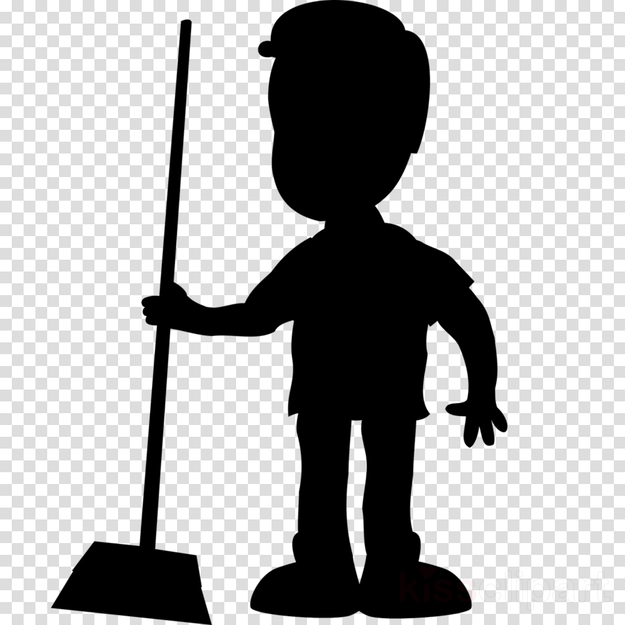 Maid clipart janitor. Boy cleaning silhouette