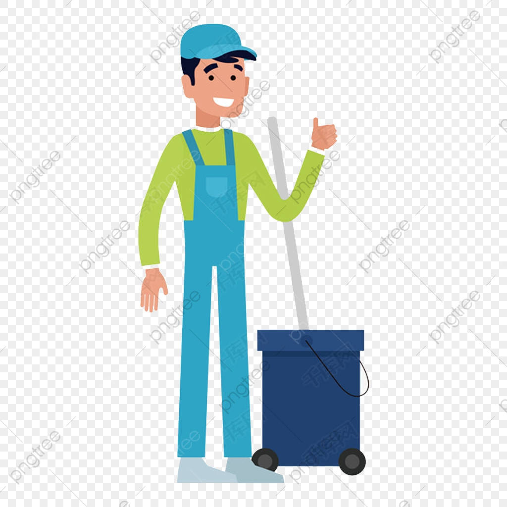 Hand drawn cartoon cleaning. Janitor clipart housekeeping staff