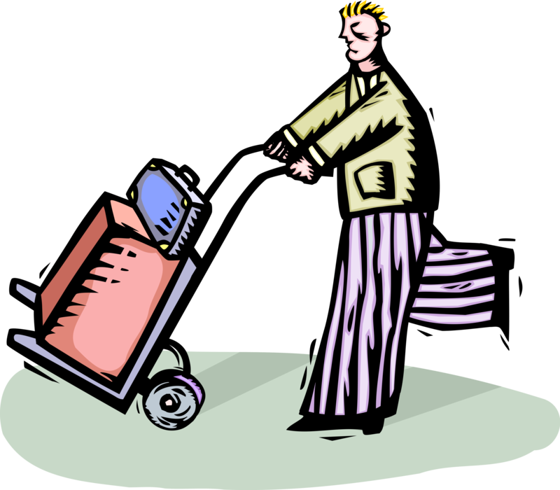 Traveler pushes on vector. Luggage clipart baggage cart