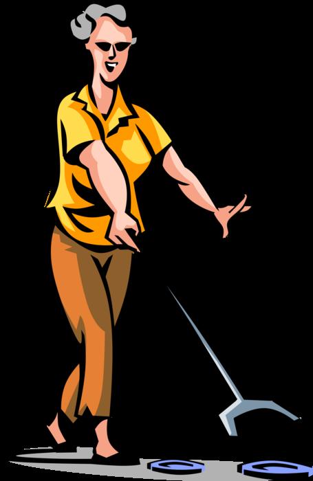 Senior citizen plays shuffleboard. Male clipart janitor