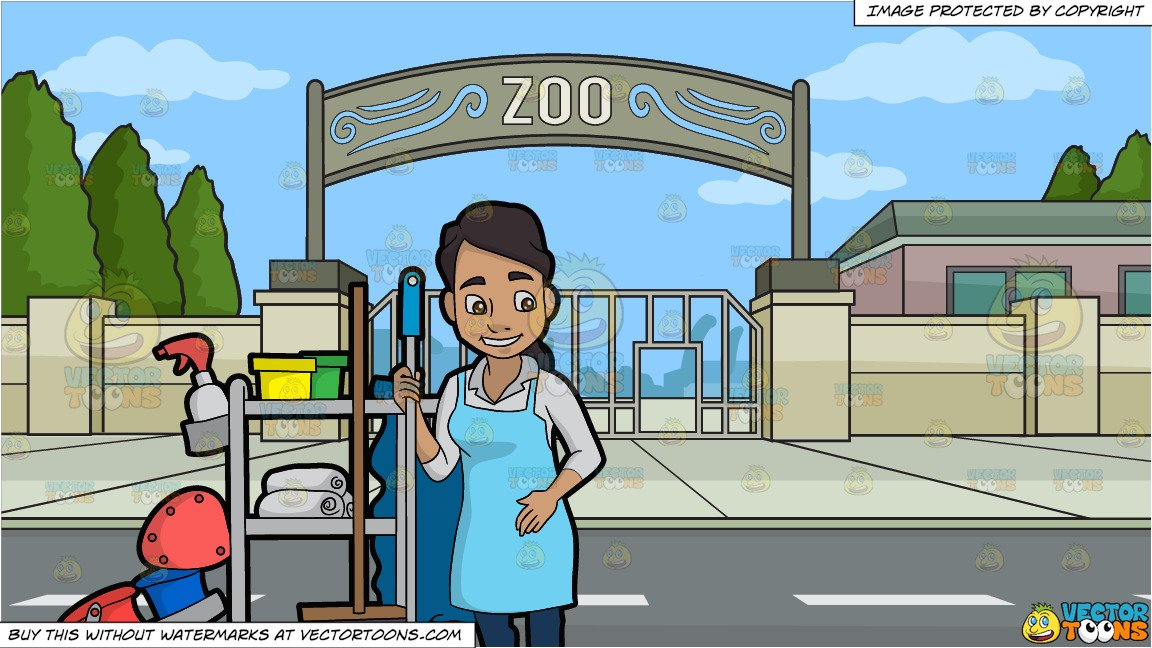 A latina holding mop. Janitor clipart zoo
