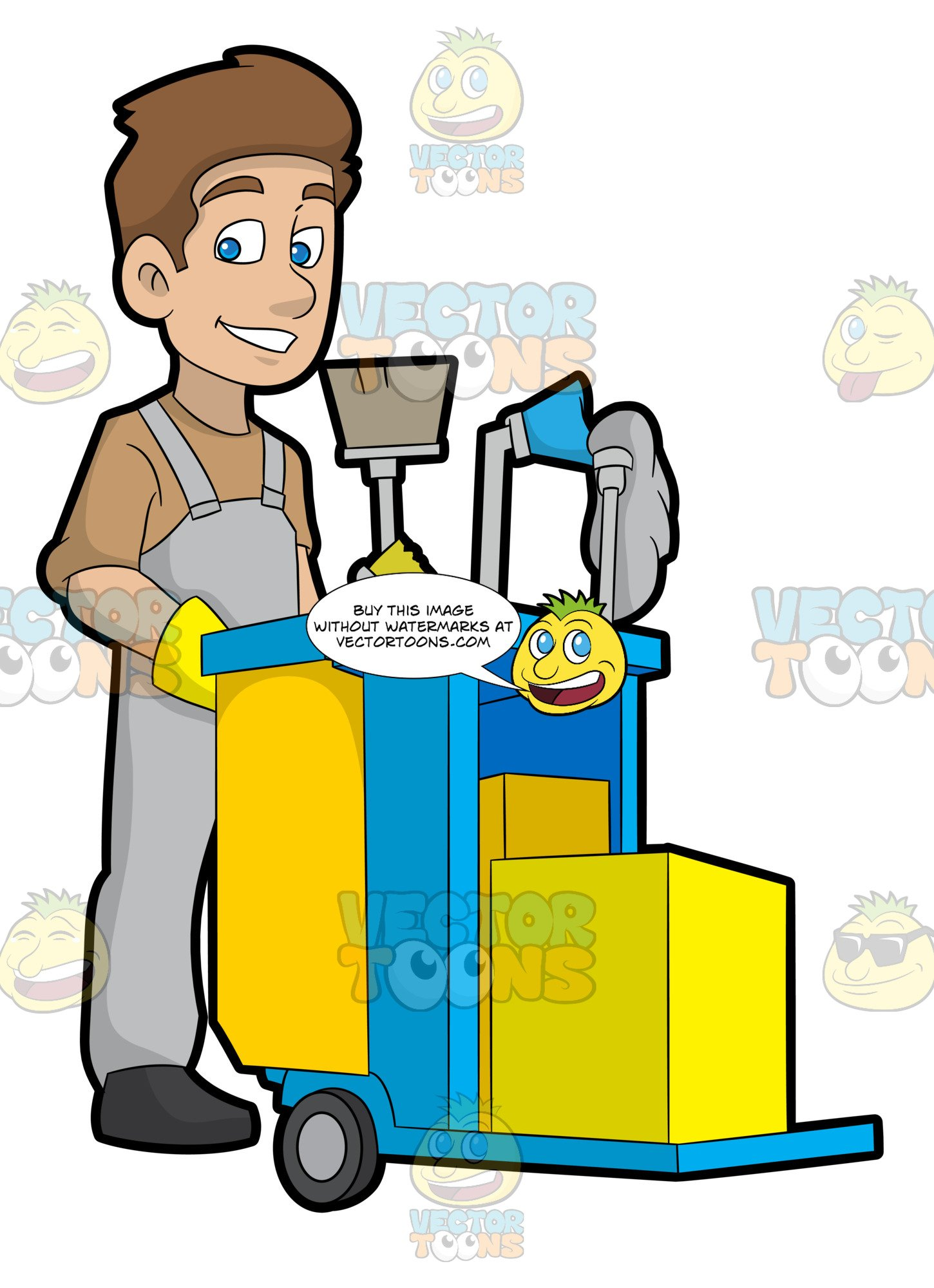 Janitor clipart zoo. A happy pushing his