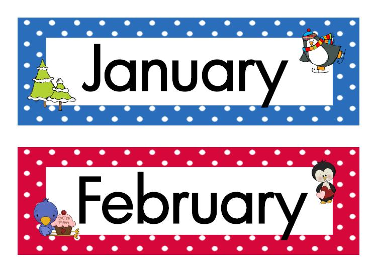 Months clip art library. Name clipart printable