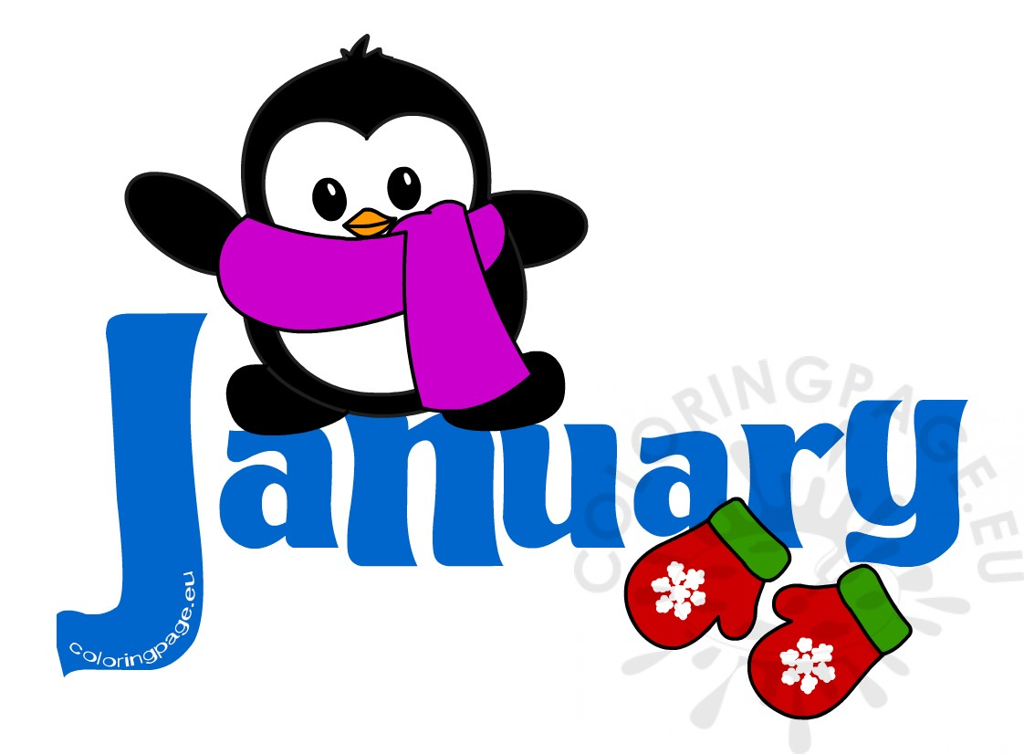 Month penguin clip art. Preschool clipart january