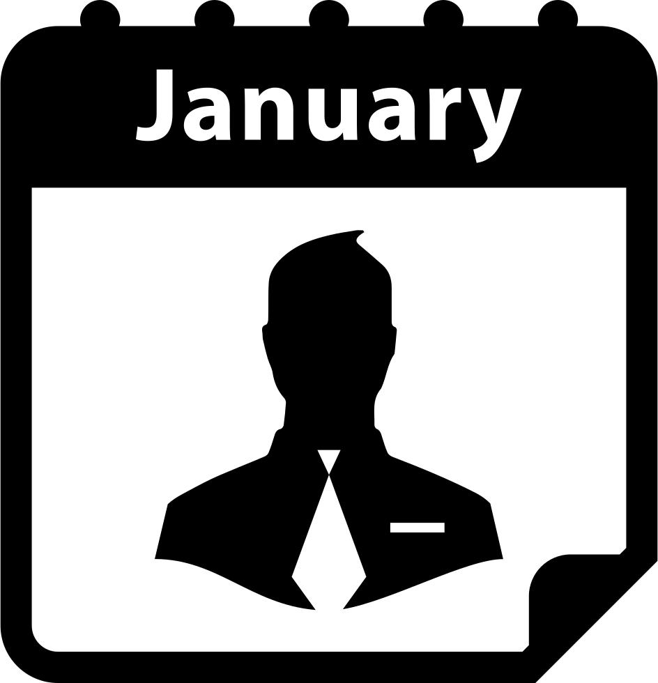 Businessman symbol on calendar. January clipart black and white