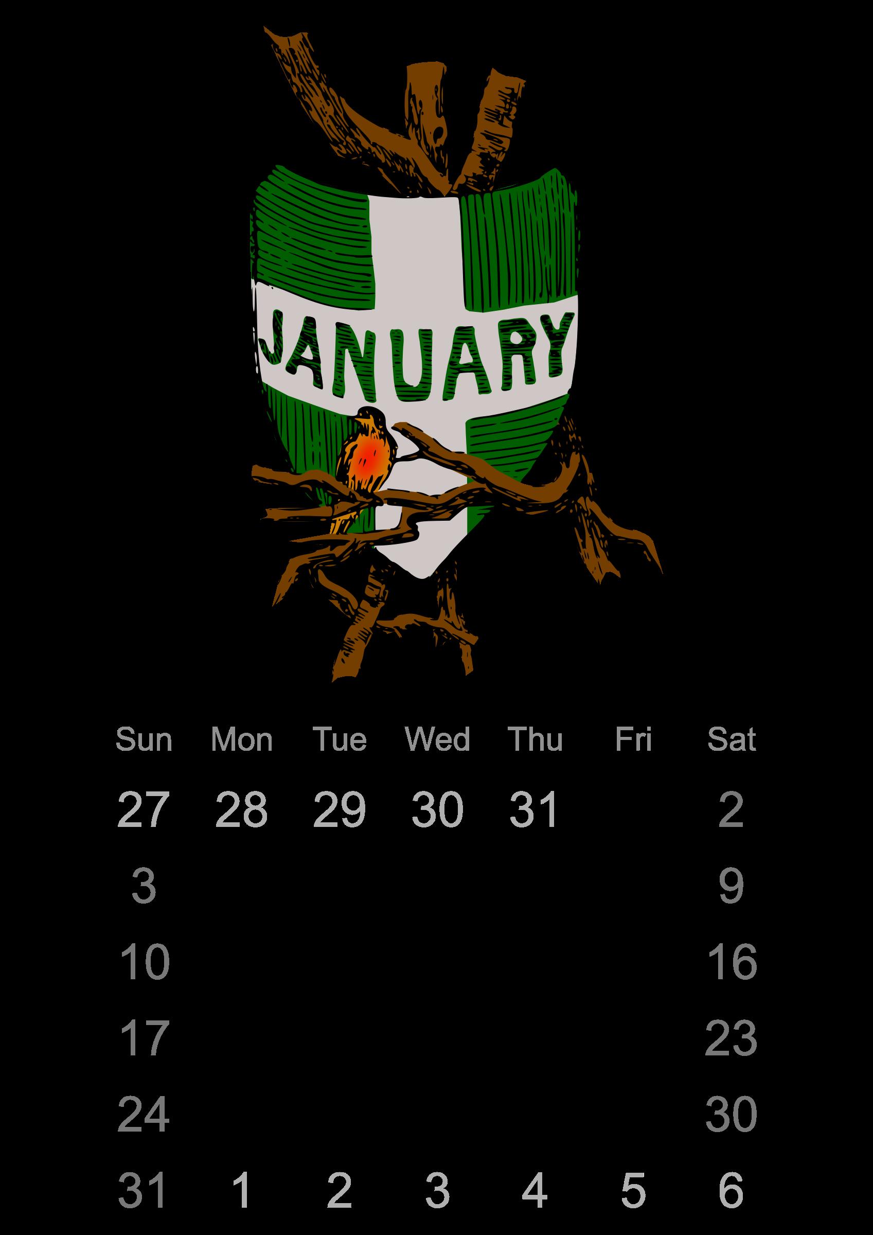 January clipart calendar. Big image png