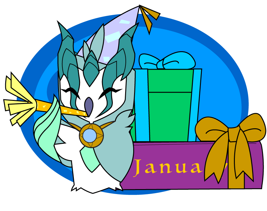 January clipart character. Monthly owl by dragon