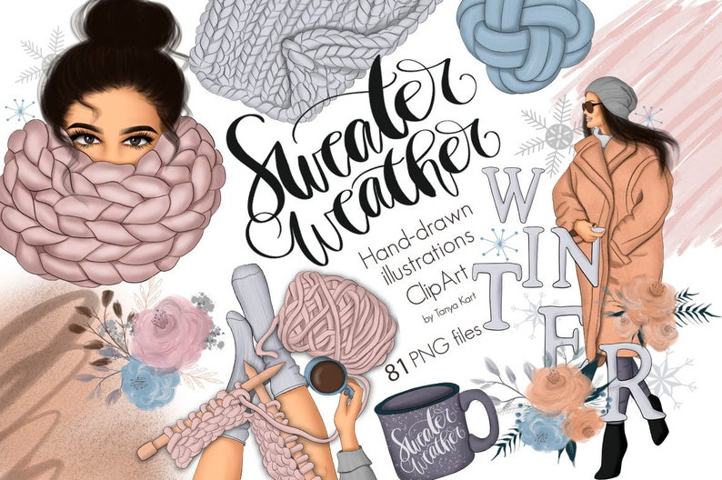 Sweater weather planner stickers. January clipart cozy