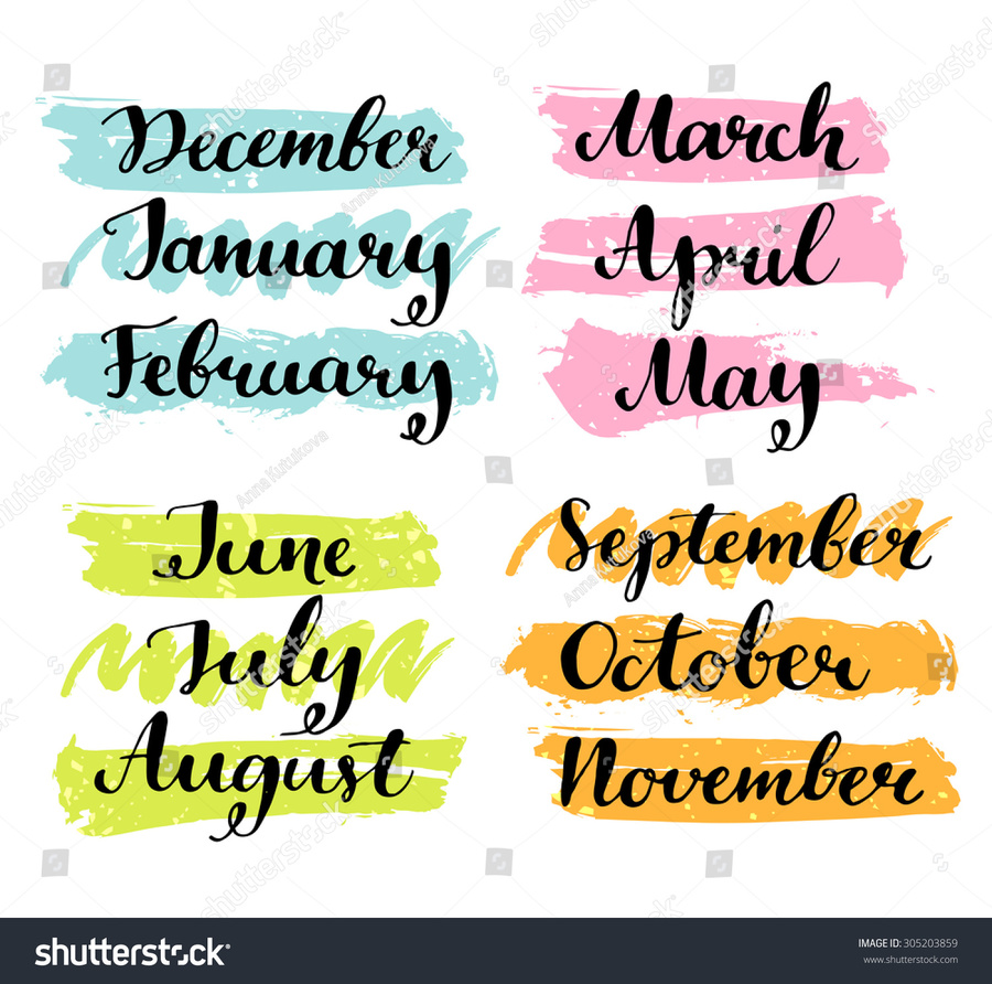 January clipart december. Download february month handwriting