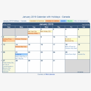 Calendar with holidays canada. January clipart january holiday
