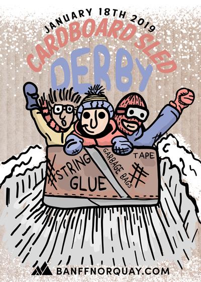 January clipart sledding. Cardboard sled derby mt