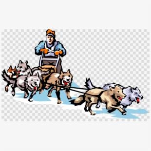 Alaska huskey sled dog. January clipart sledding