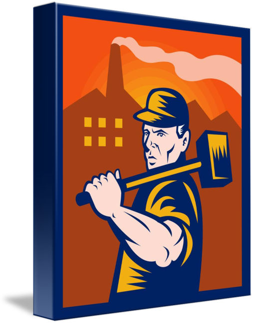 Factory worker with sledgehammer. January clipart sledging