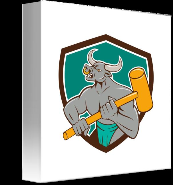 January clipart sledging. Minotaur wielding sledgehammer shield