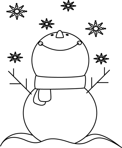 Black and white snowman. January clipart vacation