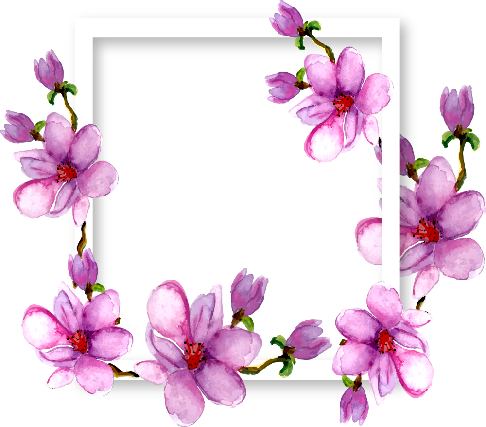 January clipart watercolor. Flowers magnolia border frame