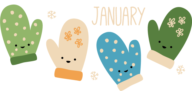 Wild olive calendar for. Mittens clipart january