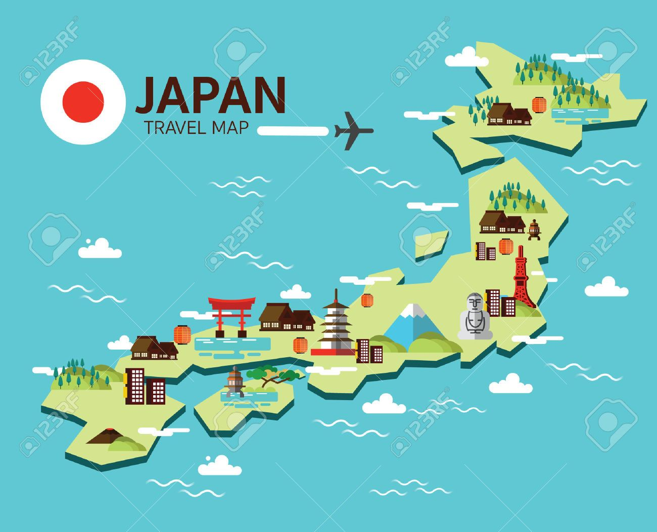 Japan clipart. Travel map cliparts stock