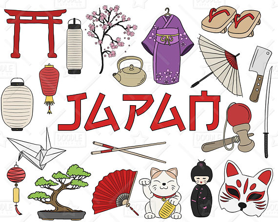 Japan clipart. Vector pack japanese doodles