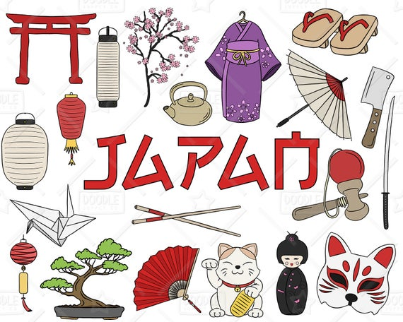 Vector pack japanese doodles. Japan clipart