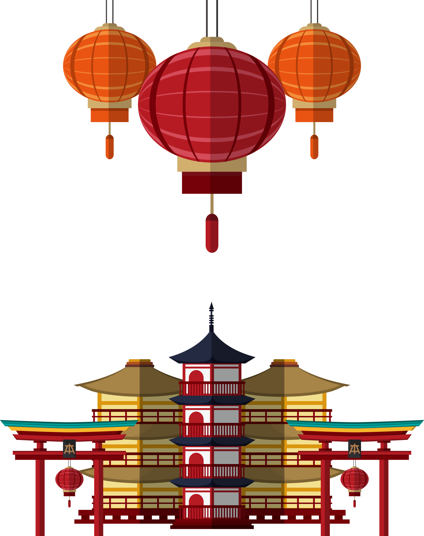 Japanese clipart red lantern. Japan drawing illustration architecture