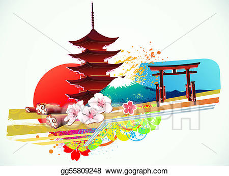 Stock illustration traditional . Japanese clipart background