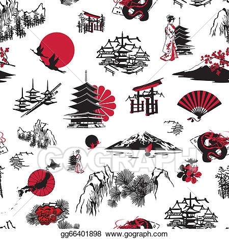 Japanese clipart background. Vector art japan drawing
