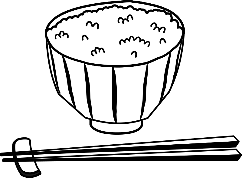 Rice bowl medium image. Japanese clipart black and white