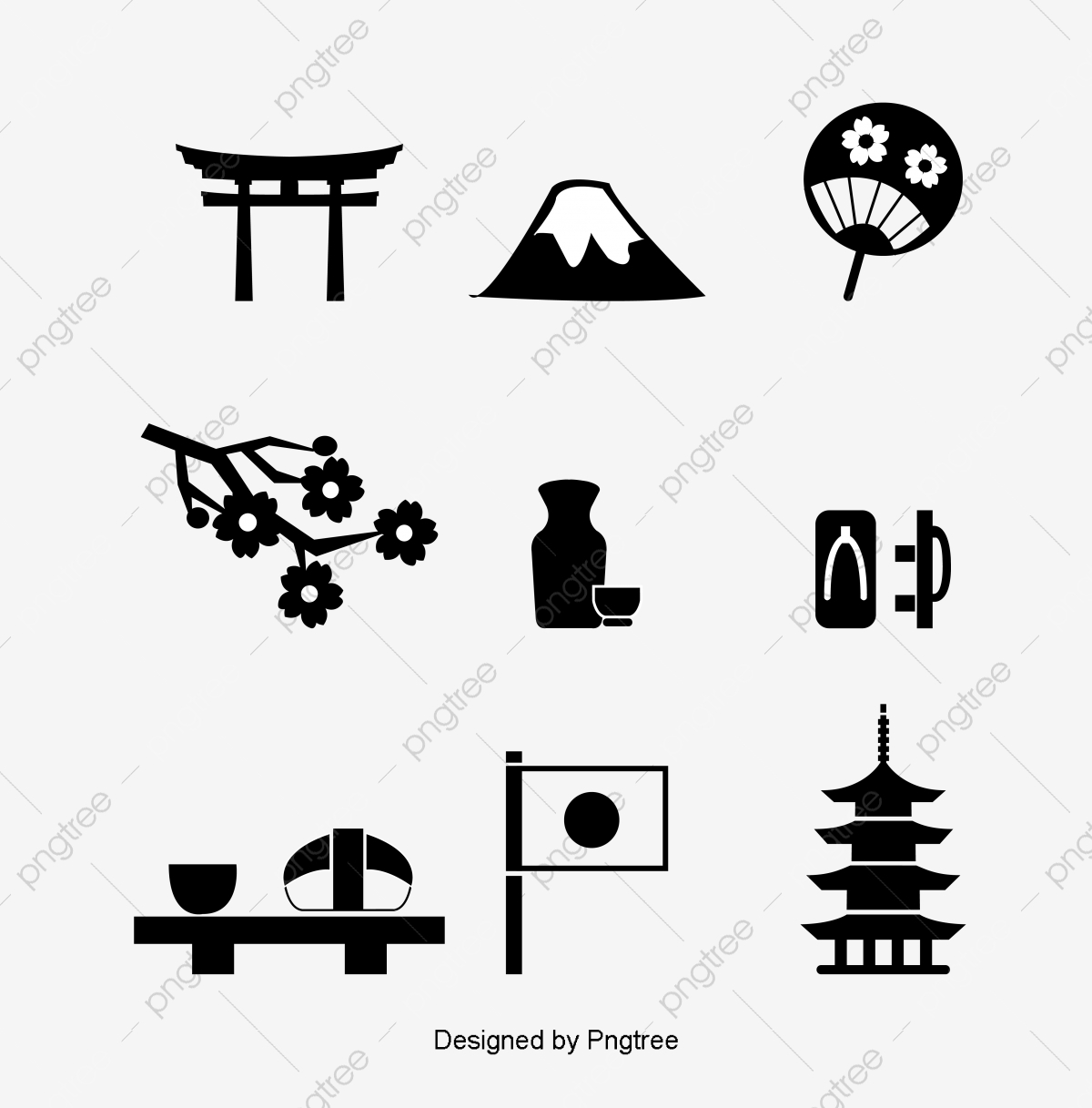 Japanese clipart black and white. Simple decorative design pagoda