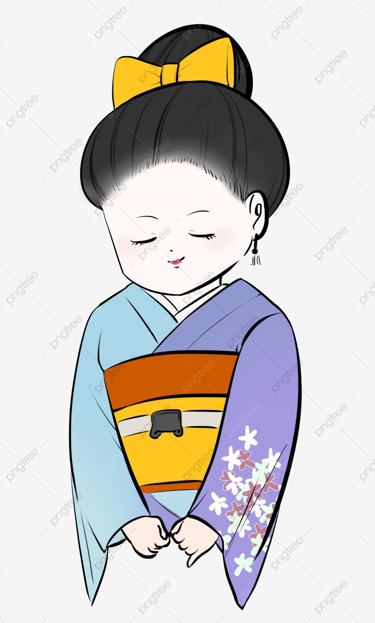 Geisha decoration illustration . Japan clipart bow japanese
