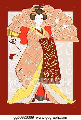 Vector illustration japanese with. Japan clipart geisha japan