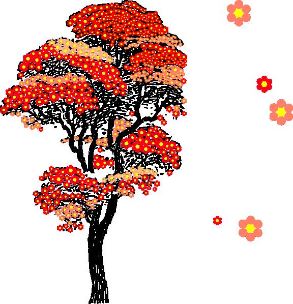 Japanese clipart vector. Cherry blossom tree clip