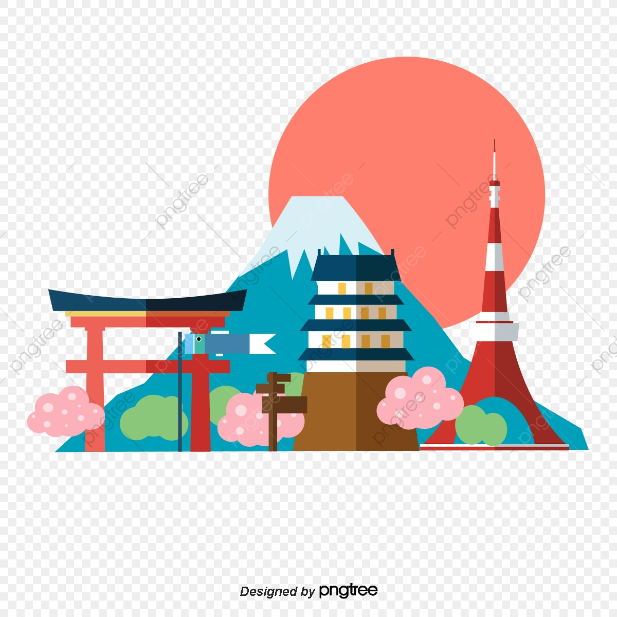 Fuji hill collection of. Japanese clipart scenery
