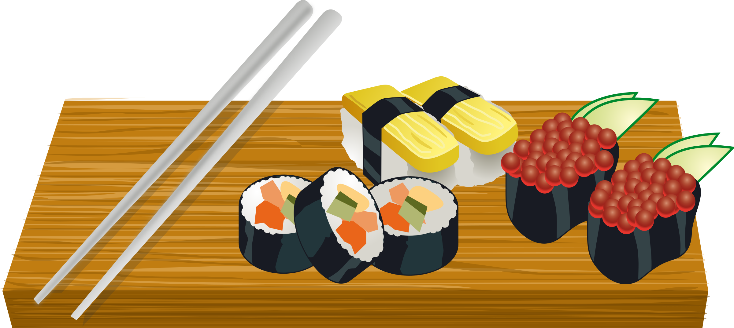 Sushi on a board. Japanese clipart japanese steakhouse
