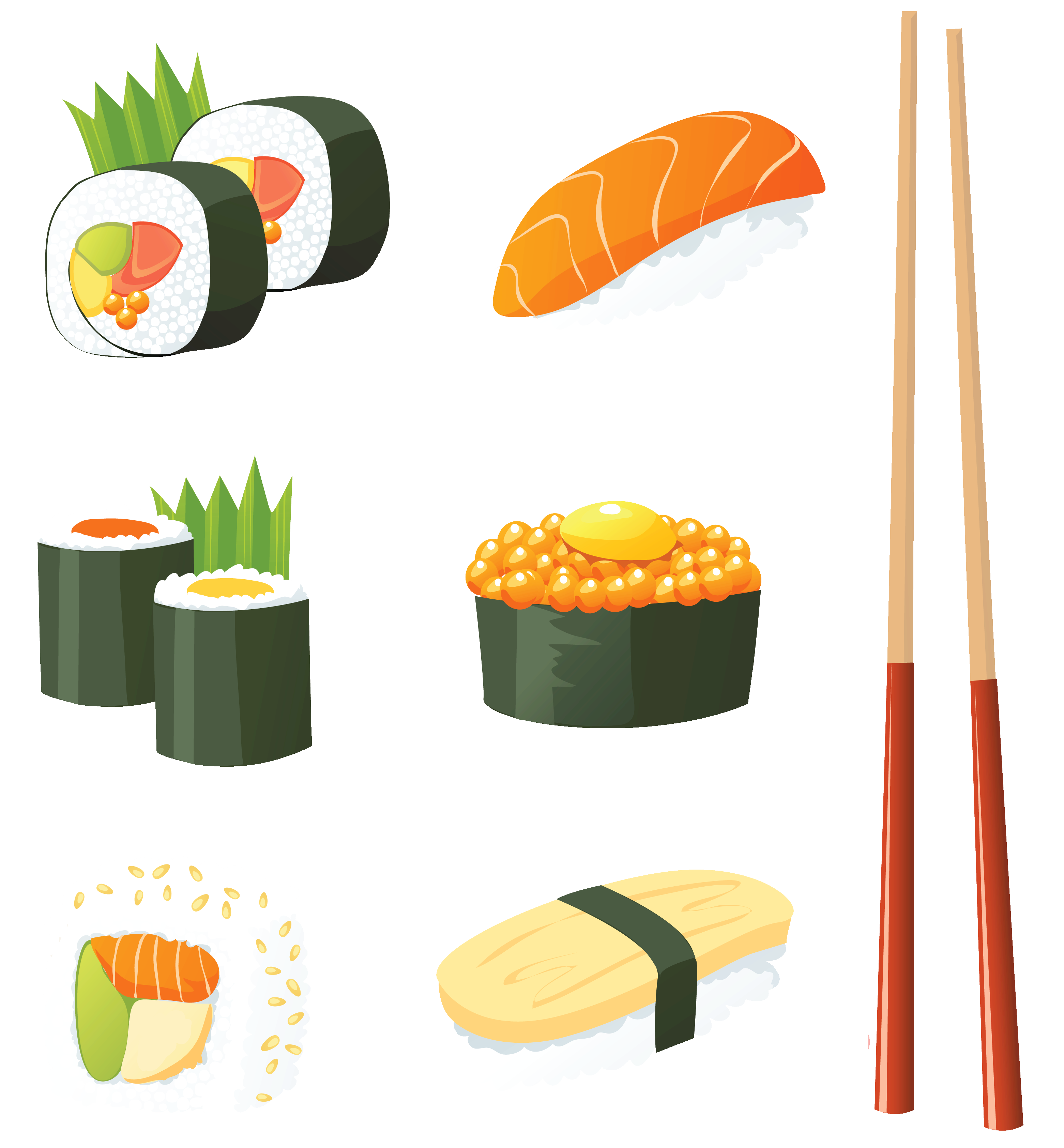 Sushi group png vector. Japanese clipart logo
