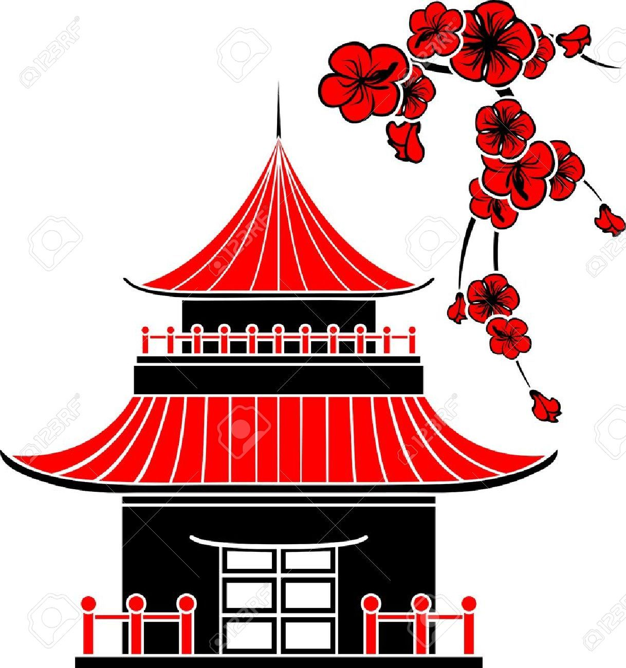 Japanese clipart. Asian house cherry blossoms