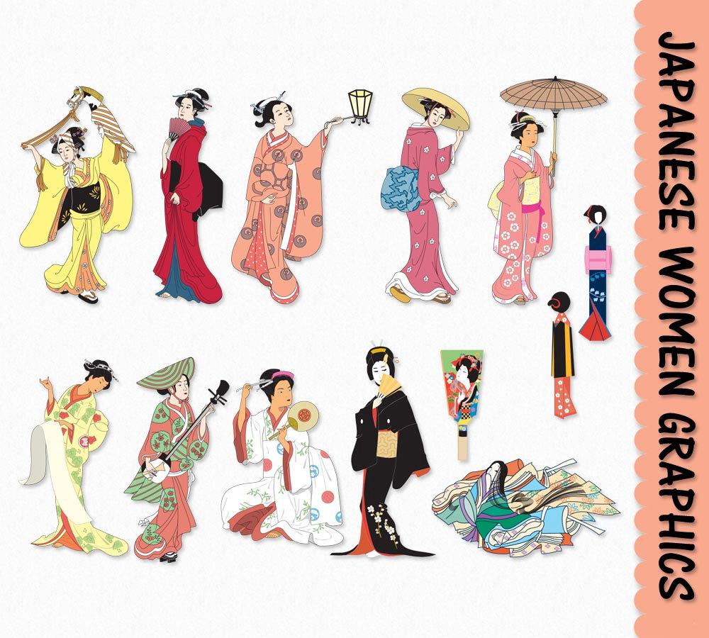 Women clip art graphics. Japanese clipart