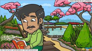 A man reading an. Japanese clipart background