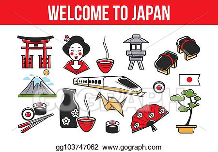 Vector illustration welcome to. Japanese clipart banner