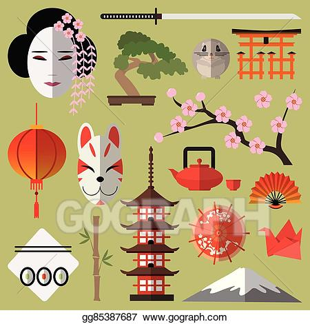 Japanese clipart banner. Vector stock with flat