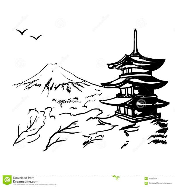Japanese clipart black and white.  cartoon landscape japan