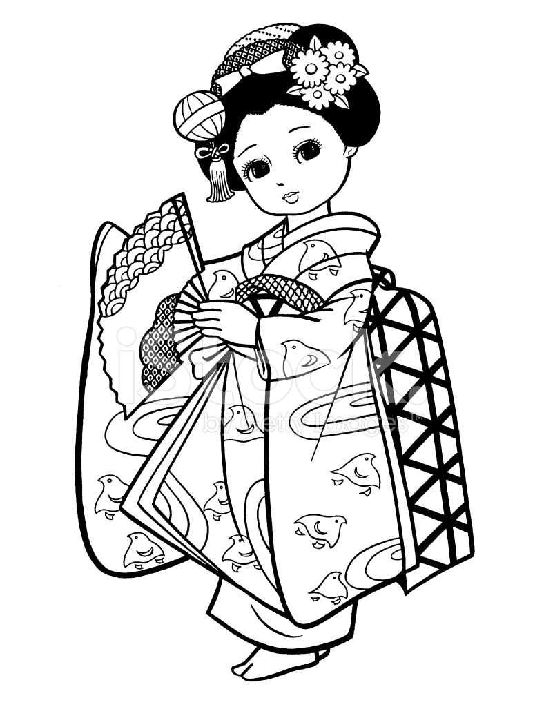 Girl dressed as geisha. Japanese clipart black and white