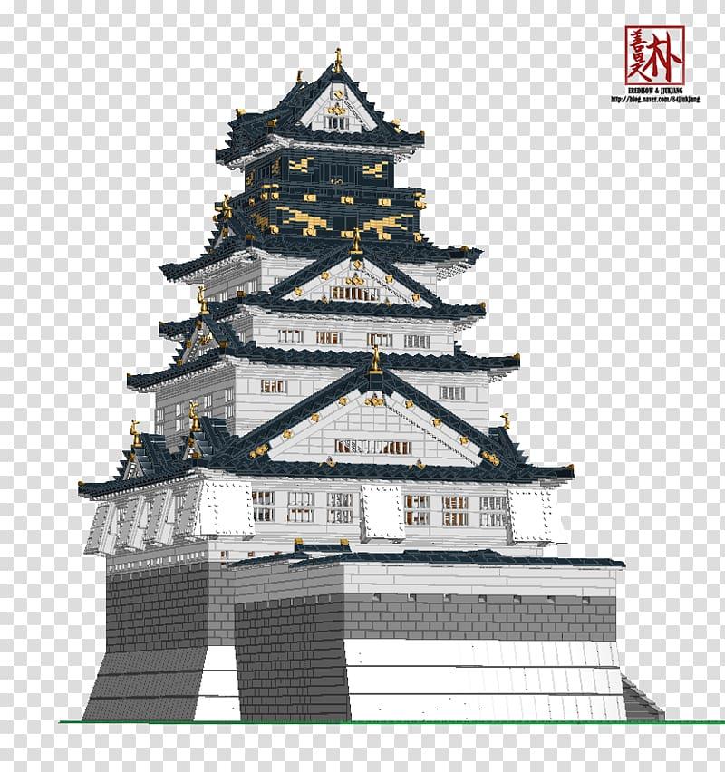 Osaka landmark tenshu . Japanese clipart castle japan